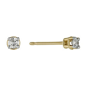9ct yellow gold diamond solitaire stud earrings - Product number 9447237
