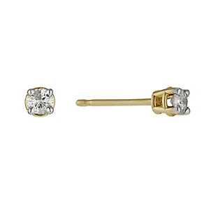 9ct yellow gold 0.15 point diamond stud earrings - Product number 9447253