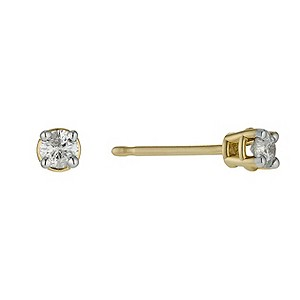 9ct yellow gold 1/4 carat diamond solitaire earrings - Product number 9447318