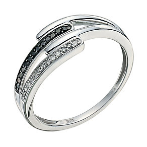 Vivid 9ct white gold treated black diamond ring - Product number 9447393