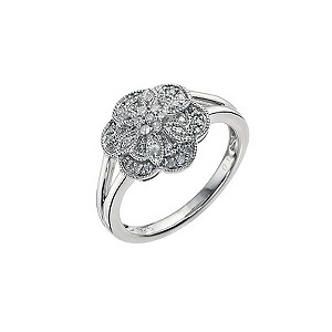 Silver & Diamond Flower Cluster Ring - Product number 9450092