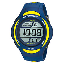 Lorus Men's Blue & Yellow Digital Watch - Product number 9450270