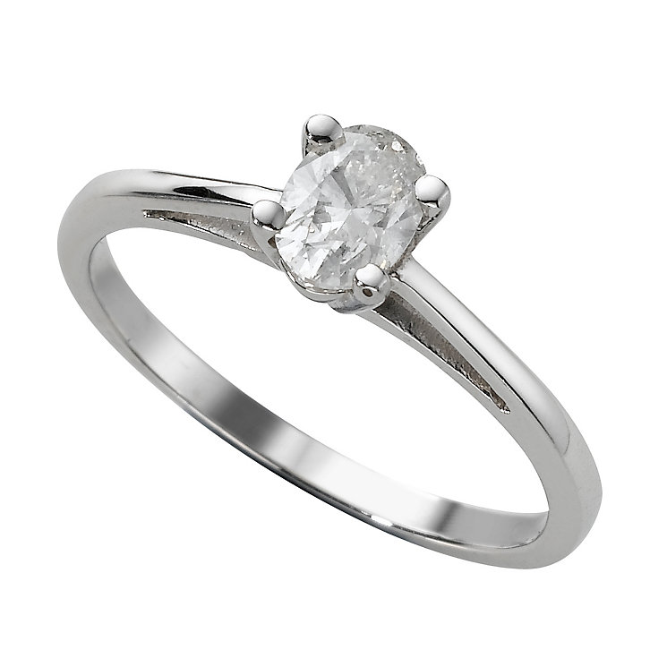 18ct white gold 1/4 carat diamond oval solitaire ring - Product number 9451242