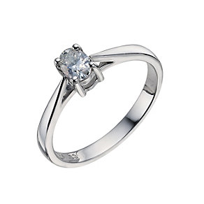 18ct white gold 1/3 carat oval diamond solitaire ring - Product number 9451447