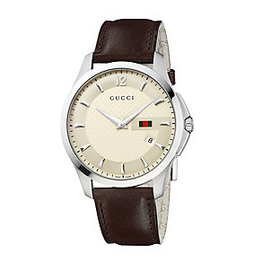 Gucci Timeless men's stainless steel brown strap watch - Product number 9452052