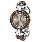 Gucci brown dial bamboo & stainless steel bracelet watch - Product number 9452567