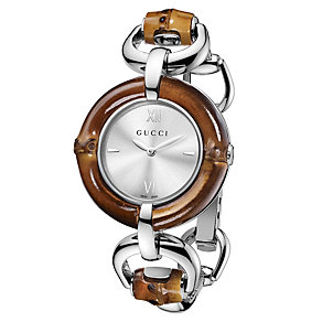 Gucci silver dial bamboo & stainless steel bracelet watch - Product number 9452842