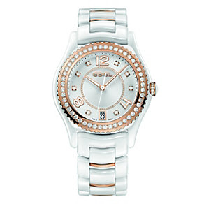 Ebel ladies' white ceramic & rose gold plated diamond watch - Product number 9453997