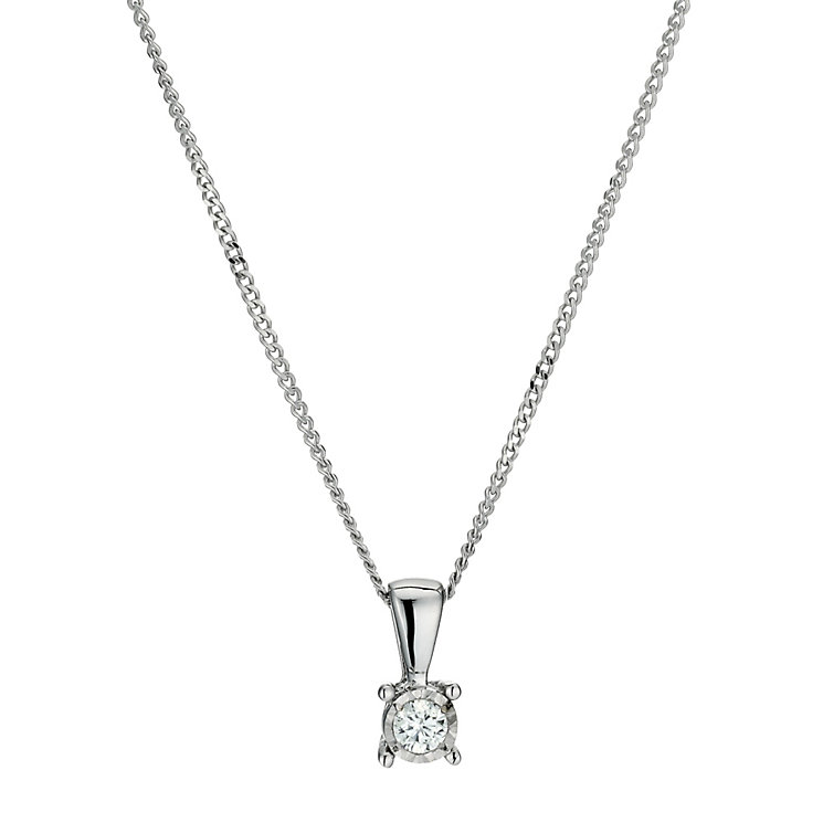 9ct white gold 0.05 point diamond solitaire pendant - Product number 9454349