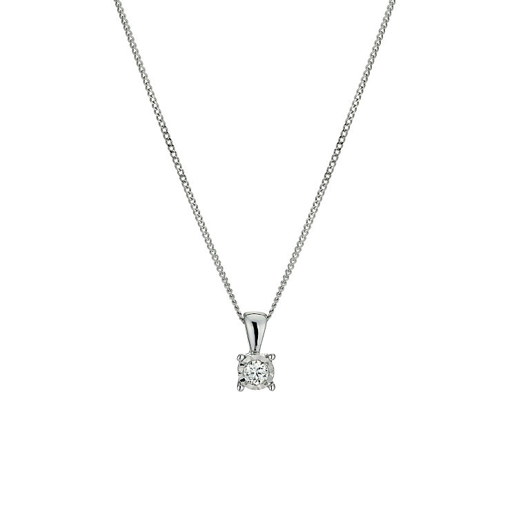 9ct white gold 0.08 point diamond solitaire pendant - Product number 9454365
