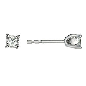 9ct white gold 0.10 point diamond stud earrings - Product number 9454373
