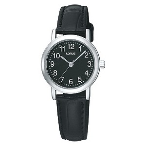 Lorus Ladies' Black Mock Croc Leather Strap Watch - Product number 9454594