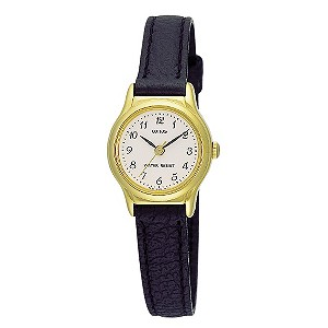 Lorus Ladies' Pink Dial & Black Leather Strap Watch - Product number 9458689