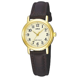 Lorus Ladies' Gold-Plated Case & Brown Strap Watch - Product number 9458859
