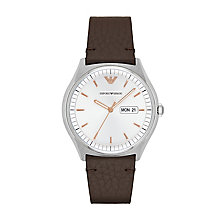 Emporio Armani Men's Stainless Steel Brown Strap Watch - Product number 9462791