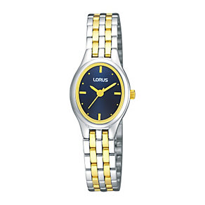 Lorus Ladies' Navy Oval Dial Two Tone Bracelet Watch - Product number 9466789