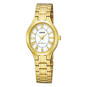 Lorus Ladies' Oval Dial Gold-Plated Bracelet Watch - Product number 9467637