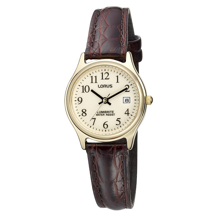 Lorus Lumibrite Ladies' Gold-Plated & Brown Strap Watch - Product number 9470247