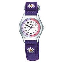 Lorus Children's Purple Flower Time Teach Canvas Strap Watch - Product number 9471898