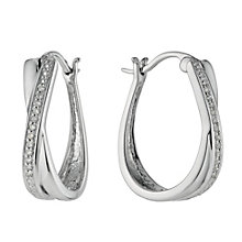 Sterling silver channel set diamond hoops - Product number 9486291