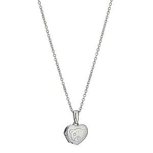 Sterling Silver Heart Shaped Bear Locket