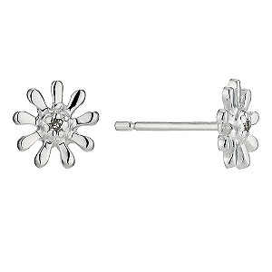 Silver and Diamond Daisy Earrings - Product number 9497374