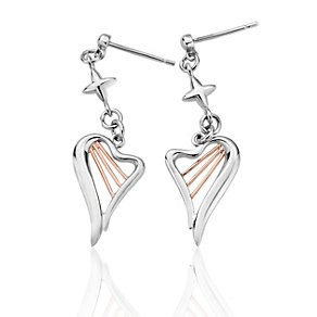 Clogau Silver & Rose Gold Heart Strings Earrings - Product number 9505385