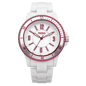 Oasis Ladies' Pink Bezel White Plastic Bracelet Watch - Product number 9521828