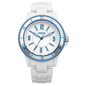 Oasis Ladies' Blue Bezel White Plastic Bracelet Watch - Product number 9521836