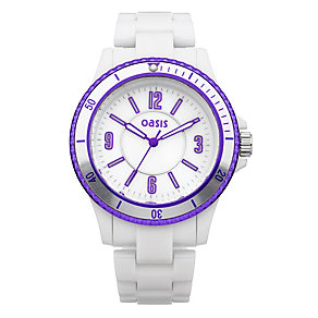 Oasis Ladies' White & Purple Bracelet Watch - Product number 9521844