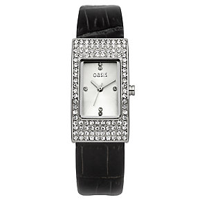 Oasis Ladies' Stone Set Black Strap Watch - Product number 9522255