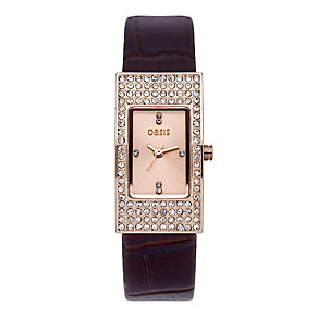 Exclusive Oasis Ladies' Stone Set Chocolate Strap Watch - Product number 9522263
