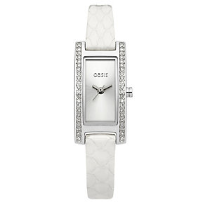 Oasis Ladies' Stone Set White Strap Watch - Product number 9522271
