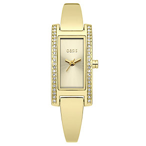 Oasis Ladies' Stone Set Gold Plated Semi Bangle Watch - Product number 9522352