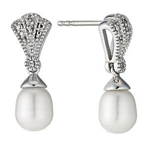 Sterling Silver Diamond Freshwater Pearl Fan Drop Earrings - Product number 9524460