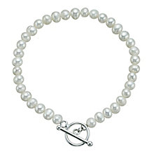 "Sterling Silver Freshwater Pearl T-Bar Bracelet 7.25"" - Product number 9524592"