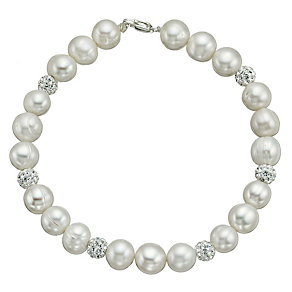 Sterling Silver Crystal Cultured Freshwater Pearl Bracelet - Product number 9524606