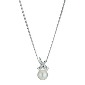 Sterling Silver Cubic Zirconia Pearl Crossover Pendant - Product number 9524649