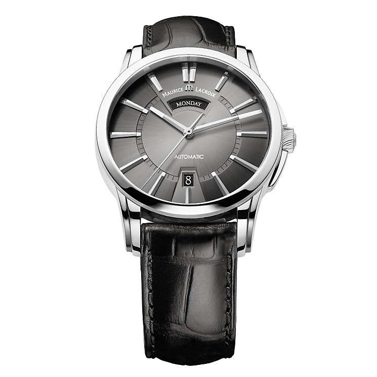 Maurice Lacroix men's black leather strap automatic watch - Product number 9527788