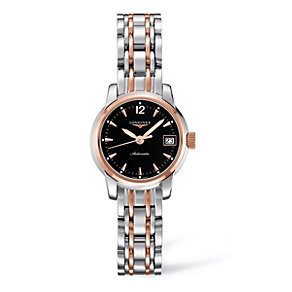 Longines ladies' black dial two colour bracelet watch - Product number 9528482