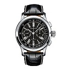 Longines men's stainless steel black leather strap watch - Product number 9528512