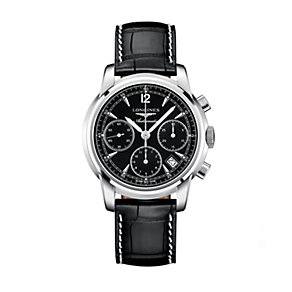 Longines men's black leather strap chronograph watch - Product number 9528547