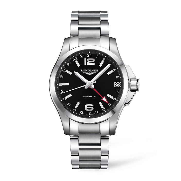 Longines men's black dial stainless steel bracelet watch - Product number 9528636