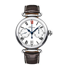 Longines men's stainless steel brown leather strap watch - Product number 9528695
