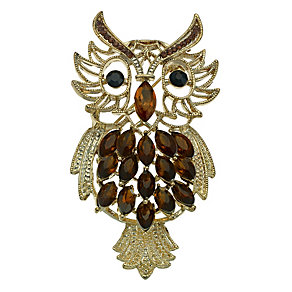 Gold Plated Stone Set Owl Brooch - Product number 9528709