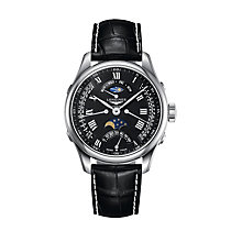 Longines men's black strap moon phase watch - Product number 9528776