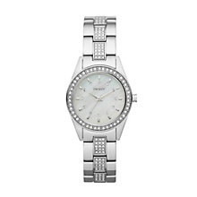 DKNY ladies' mother of pearl stone set strap watch - Product number 9530959