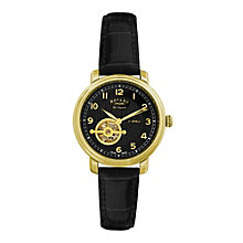 Rotary Jura men's gold plated black strap watch - Product number 9531580