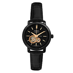Rotary Jura men's skeleton dial black leather strap watch - Product number 9531610