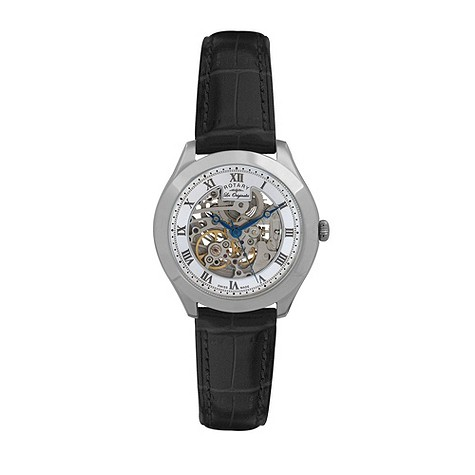 Rotary Jura men's stainless steel skeleton strap watch